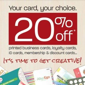20% off business and loyalty cards
